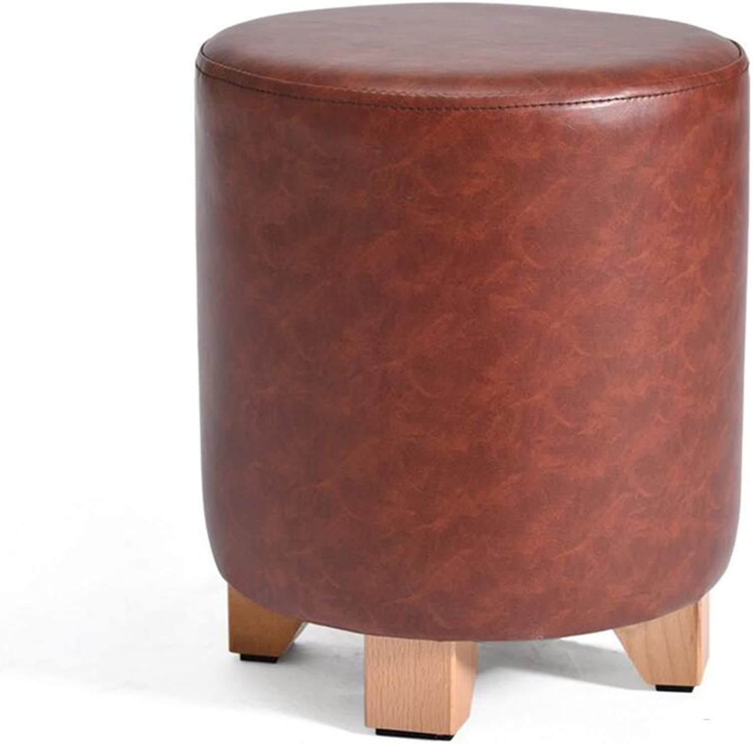 YCS Sofa Stool Short Pier PU Wooden Legs Make-up Stool shoes Stool H35  29 (color   Dark Red)