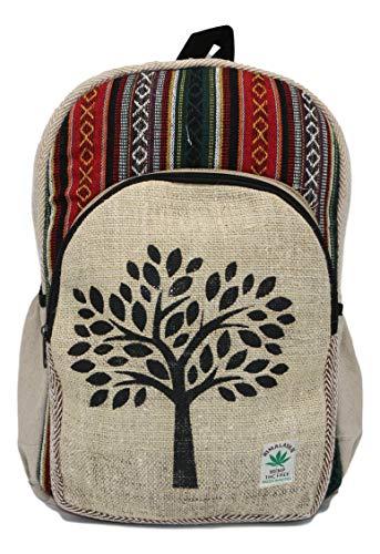 HIMALAYAN mochila de fibra de cáñamo/ Mochila de cáñamo / mochila de día de cáñamo / mochila para la escuela, viajes, ocio, exterior, deporte – con compartimiento para laptop - modelo 152 árbol