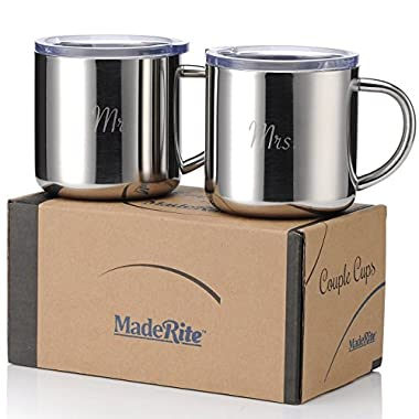 MadeRite Premium 304 Stainless Steel Couple Cups Coffee Mug Set 14 ounce (Mr. Mrs.)