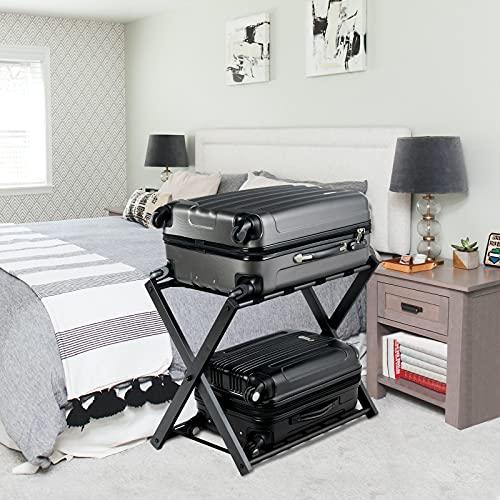 WELLFOR Set of 2 Luggage Rack with Shelf, Folding Metal Luggage Holder Suitcase Rack for Guest Room, Bedroom, Hotel (Black)