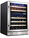 Kalamera 24'' Wine refrigerator 46 Bottle Dual Zone Built-in and Freestanding with Stainless Steel &...