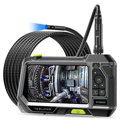 Teslong Dreilinsen-Endoskopkamera, 5 -Zoll -Farb-IPS-Bildschirm Inspektionskamera, Wasserdichtes Endoskop mit Einstellbare LED-Leuchten, 3500mAh Batterie, 32GB TF Karte, Werkzeugkasten (16.5ft)
