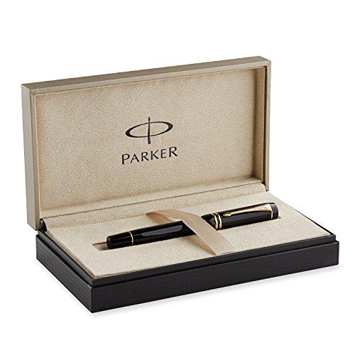 Parker Duofold International - Pluma estilográfica con caja (punta media, adornos en dorado), color negro