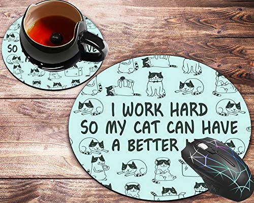 Round Mouse Pad and Coaster Set, Motivational Quotes Cute Cat Mousepad, Non-Slip Rubber Base Gaming Mouse Pads for Working Or Game