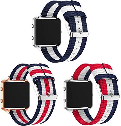 Classicase Reloj Bandas Compatible con Fitbit Blaze – elección de Color, Longitud y Anchura – Correas de Nailon (3-Pack E)