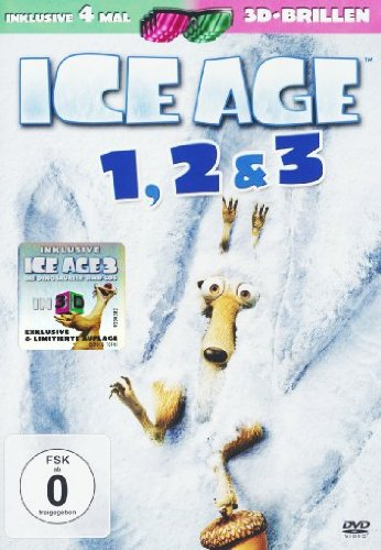 Ice Age 1-3  DVD (3 DVDs) (+ anaglyphe 3D DVD) (+ 4 3D-Brillen)