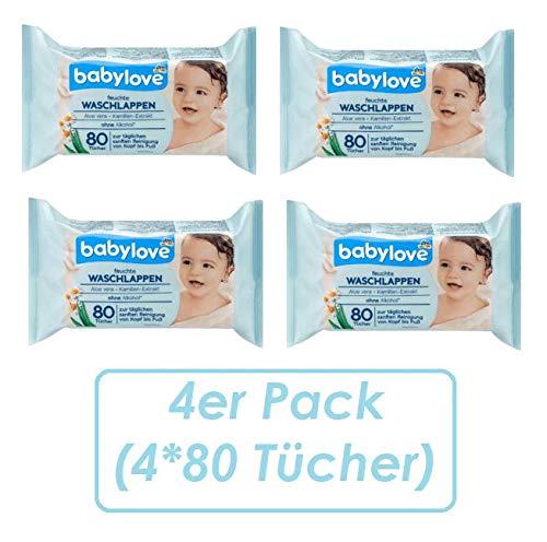 babylove Waschlappen feucht, 4er Pack (4 x 80 St)