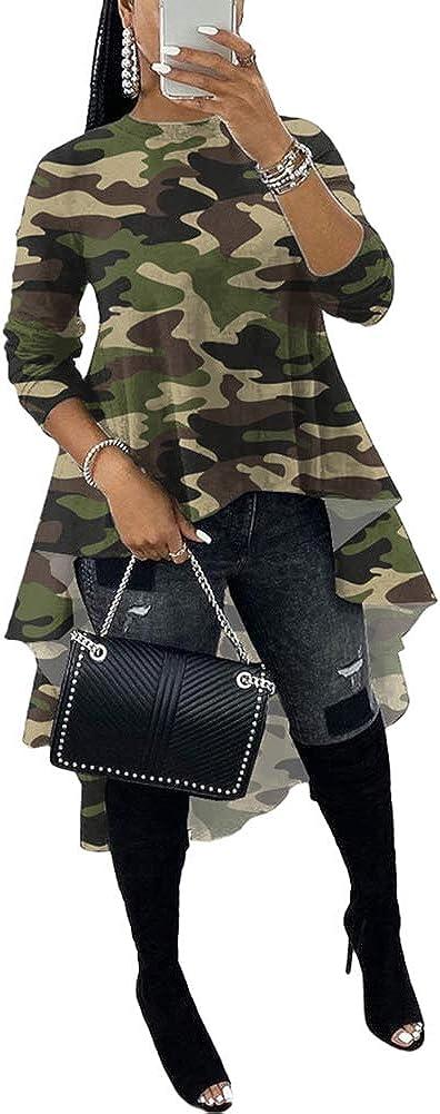 High Low Tops for Women - Stylish Long Sleeve Ruffle Tunic Shirt Blouse