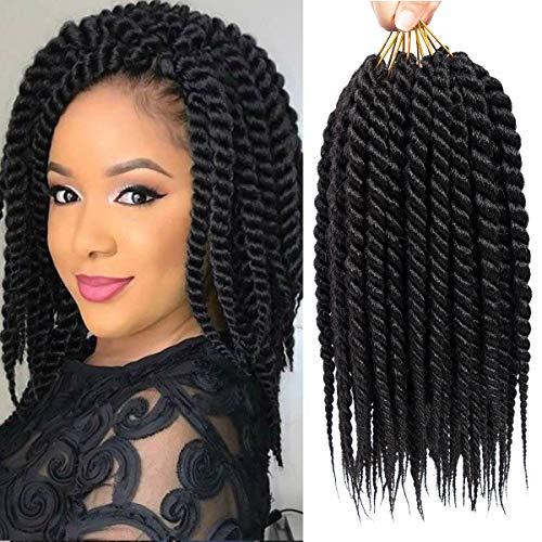 6 Packs 12 inch Havana Mambo Twist Crochet Braids Senegalese Twist Crochet Hair Synthetic Braiding Hair Extensions (12INCH, 1B)
