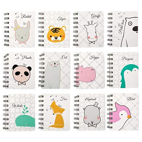 Czemo Mini Block Notes Bambini Piccolo Taccuino Tascabile Guaderno Spirale Regalini Fine Festa Bambini, Confezione da 12