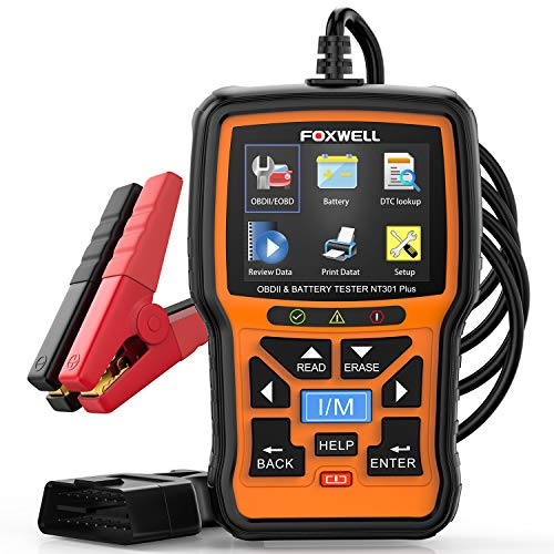 FOXWELL NT301 Plus Car OB2 Scanner, 2 in 1 Diagnostic Tool with Battery Tester for 12V Automotive 100-1100CCA Batteries, O2 Monitor Code Reader, Smog Test Scan Tool for All OBDII Protocol Cars