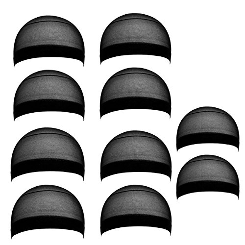 Frcolor 10 Pack Nylon Wig Caps Couleur de la peau Stretchy Close End Stocking Wig Caps (Black)