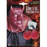Widmann 4132C Teufelshörner mit Klebstofftube, Unisex– Erwachsene, Rot, Einheitsgröße