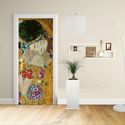 Autocollant de Porte - Design- Klimt Le Baiser 2 - Gustav Klimt The Kiss (Lovers) - Décoration adhésive pour Portes Impression sur PVC (CM 80X200)