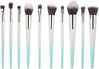 Crazy-store 10pcs/set Mirror Cosmetic Brushes Laser Gradient Makeup Brush Kit for Adult Making up Green