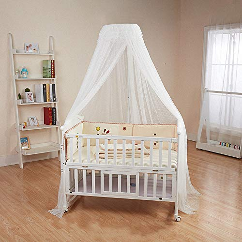 Baby Bed Canopy with Adjustable Clip-on Stand Baby Crib Cot Mosquito Net Tent Hanging Dome Curtain Netting See Through Mesh Bed Cover Net Stand Rod