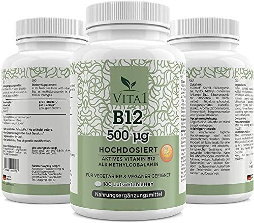Vitamin B12 Vegan 500µg - 180 Tabletten Methylcobalamin - Hochdosiert - mit natürlichem Zucker Xylitol - deutsche Produktion