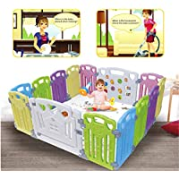 Baby Playpen - Centro de actividades para niños, juego de seguridad en el patio, interior y exterior, con 14 paneles, bolígrafo (classic 14 panel)