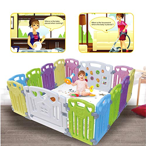 Baby Playpen Kids Activity Centre Safety Play Yard Home Indoor Outdoor New Pen (Multicolour, Classic Set 14 Panel) (Multicolour 14 Panel)