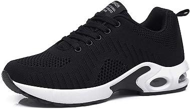 Zapatillas Deportivas de Mujer Air Cordones Zapatillas de Running Fitness Sneakers 4cm Negro Rojo Rosado Púrpura Blanco 35-42