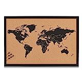 Zeller 11571 Tableau World 60x40cm en liège, Bois, Marron/Noir, 60 x 40 x 60 cm