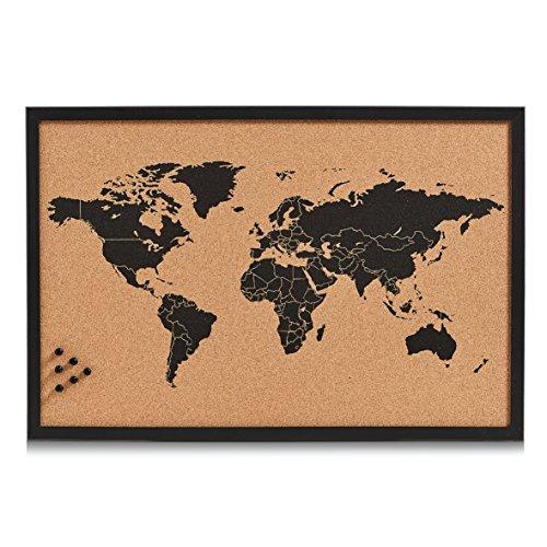 "Zeller 11571 Pinbord ""World"", Kork, schwarz, 60 x 40 x 2 cm"