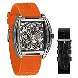 Relojs Hombres Automático Esqueleto Mecánico Analógico 3ATM Caja de Aleación de Titanio Correa de Silicona Reloj Dial Tonel Casual
