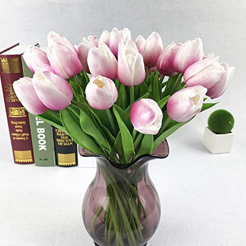 ZXy Ramo de Flores Artificiales Falsas de 8 Piezas, Flores de tulipán de Seda de Tacto Real, Boda de Fiesta, Flor de decoración del hogar Azul