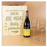 Calledelregalo Regalo Personalizado para jubilación: Kit con Botella de Vino + Copas de Vino en Caja de Madera