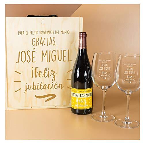 Calledelregalo Regalo Personalizado para jubilación: Kit con Botella de Vino + Copas de Vino en Caja de Madera: Amazon.es: Hogar