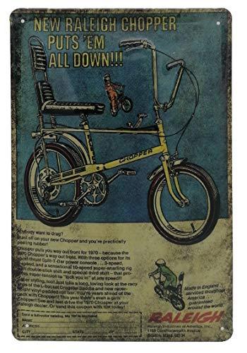 Raleigh Chopper Fahrrad, Bonanza Kult, Klassiker - hochwertig geprägtes Retro Reklame, Werbeschild, Blechschild, Türschild, Wandschild, Dekoration, 30 x 20 cm