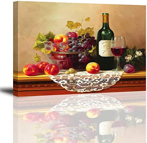 Retro Wine Pictures for Kitchen PIY Vibrant Fruits Wall Art for Dining Room Canvas Prints Oil product image