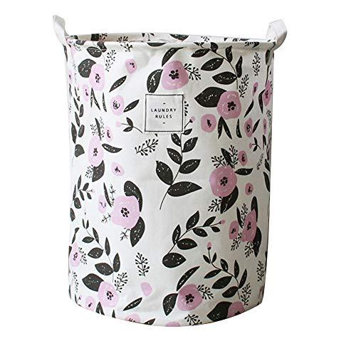 Demarkt–Cesta de ropa grande con mango resistente redondo algodón Lino plegable cesta verde flores 35* 35* 45cm