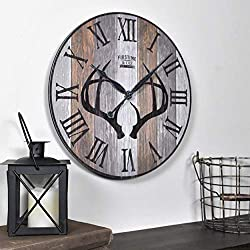 FirsTime & Co. Timber Antlers Wall Clock, 12, Satin Black