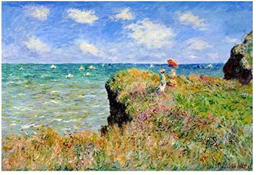Jigsaw Puzzle 1000 pezzi di puzzle in legno Claude Monet Il famoso dipinto di ClaudeMonet che cammina sulla scogliera per fornire agli adolescenti giocattoli per adulti