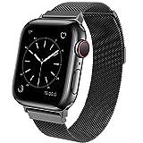 BRG コンパチブル Apple Watch バンド コンパチブル アップルウォッチ バンド ステンレス留め金製 コンパチブル Apple Watch ベルト コンパチブル Apple Watch SE/6/5/4/4 (42mm/44mm, ブラック)