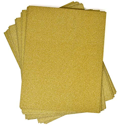 """Gold Glitter Card Stock Paper 36 Pack Pretty Golden Glittery Stationary Sheets for Scrapbook Art Crafts Birthday Wedding Invitations Printing & School Office Supplies Letter Size 8"""" x 12"""" Double Sided"""
