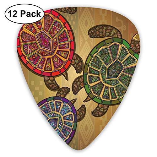 Guitar Picks - Abstract Art Colorful Designs,Three Ocean Turtles Ethic Style Animals Geometric Vibrant Ocean Theme Artwork Print,Unique Guitar Gift,For Bass Electric & Acoustic Guitars-12 Pack