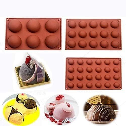 Molde de silicona para galletas de chocolate, mousse rectangular para galletas de desierto y galletas (3 piezas de forma redonda)