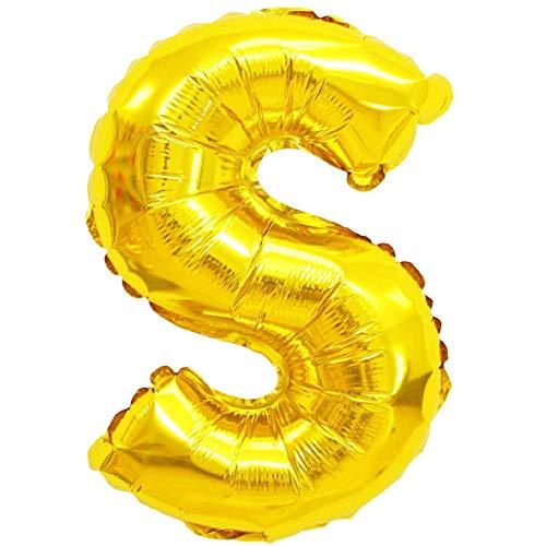 XXL LUFTBALLONS Folien-Ballons Heliumballons Buchstaben & Zahlen & Zeichen - 80CM GROßE Party-Dekoration XL für Geburtsag Hochzeit Feier - S in Gold