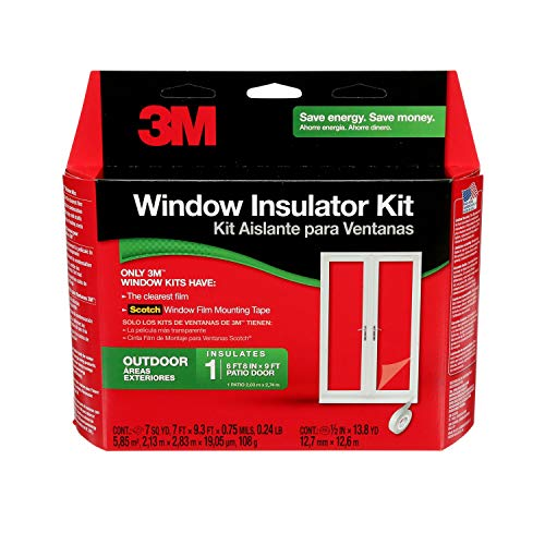 3M Outdoor Patio Door Clear Insulation Kit, Heat or Cold Insulation for Large Windows and Sliding Doors, 1-Door Kit, 7 ft. X 9.3 ft