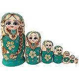 DANYIN Nidificación muñecas Rusas de Madera del bebé Matryoshka Muñecas Juguetes Set Trabajo de Arte de la artesanía Hecha a Mano Hermosa Pintada 7pcs Juguete for niños