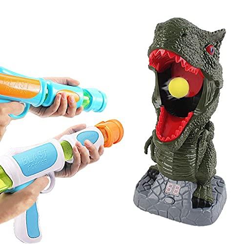 deAO Juego de Puntería Electrónico de Dinosaurio Incluye Pistolas de Aire, Pelotas de Tiro, Contador de Puntuación con Pantalla LCD y Sonidos – Actividad Infantil y en Familia
