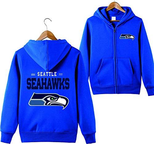 Männer mit Kapuze Langarm Buchstaben drucken Seattle Seahawks Football Team Solid Color Reißverschluss Hoodies(XXL,blau)