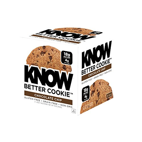 KNOW Foods Gluten Free, Low Carb, Protein Cookies, Chocolate Chip, 4g Net Carbs - 4 Count (Packaging May Vary)