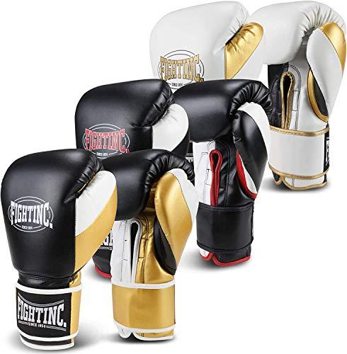 Fightinc. Boxhandschuhe Legacy - 8 10 12 14 16 Oz für Boxen Kickboxen Muay Thai MMA Kampfsport schwarz weiß rot Gold UVM (12 Oz, blau/Gold (402))