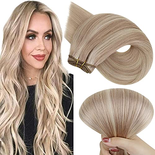 Hetto Blonde Weft Extensions Human Hair 22 Inch 100g Sew in Weft Hair Extensions Real Hair #18/613 Blonde Highlights Double Weft Human Hair Weave