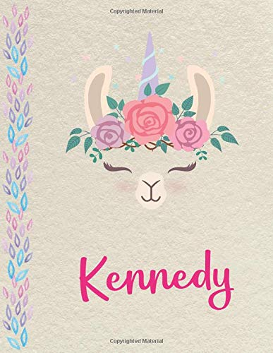 Kennedy: Personalized Llama SketchBook for girls, great gifts for kids. Large sketch book with pink Name for drawing, sketching, Doodling or learning to draw (sketch books for kids 8.5x11 110 pages )