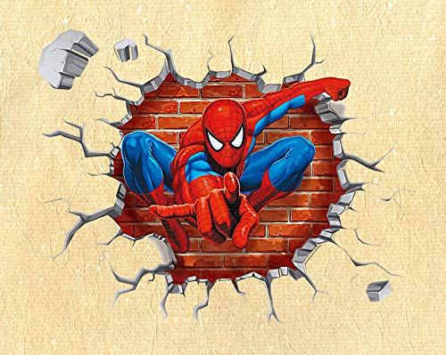 SchwartsCount Spiderman Wall Decals - Kids Room Peel & Stick Wall Superhero Decor - Spiderman Removable Vinyl Sticker - Cracked Wall 45x50cm Decal - 17.7x19.7 Inch