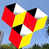 ZHURGN Cometa Grande, 3D Magic Cube-Box Kite, fácil de Montar, Línea de una Sola línea Ripstop Tela de Nylon 3D Fácil de Volar Cometa con Cadena de Cometas para jardín de Playa al Aire Libre